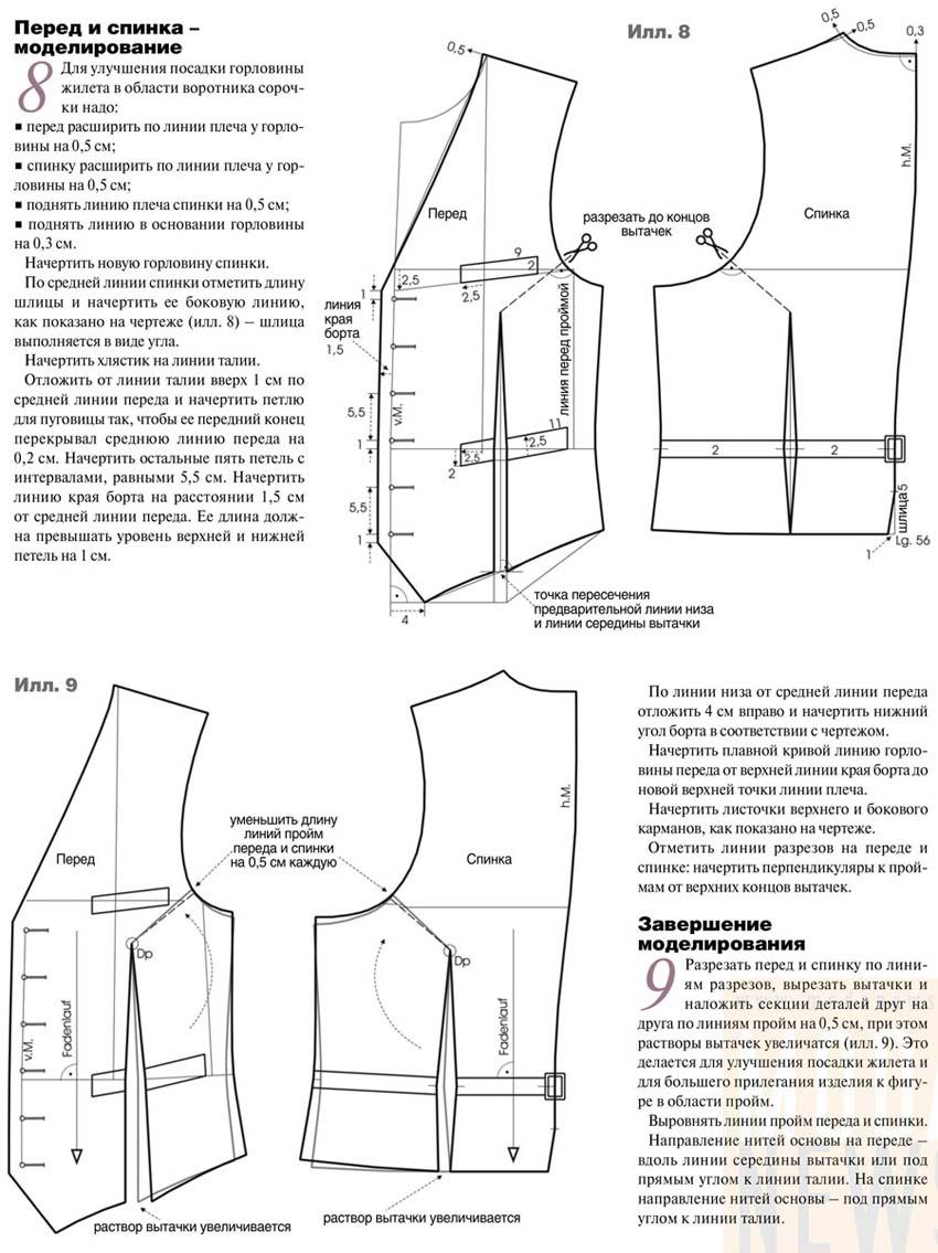 Как сшить жилетку с подкладкой? Выкройка женского 46
